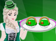 Elsa Cooking St Patricks Day Cupcakes